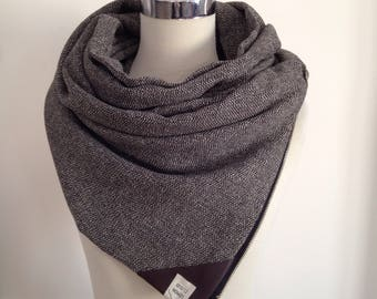Brown Leather Corner style Zipper Scarf