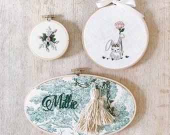 Woodland Meadow Custom Nursery Art Embroidery Hoop Set of Three