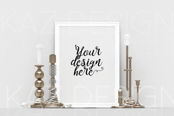 Vertical White Frame Mockup, Poster Mockup, Styled Mockup, Digital ...
