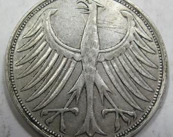 1951 J silver GERMAN 5 Marks (#E519c)