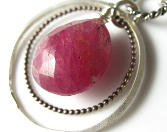 Sapphire Ring Necklace - Sterling Silver and Pink Sapphire