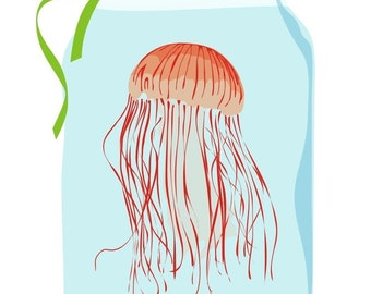 Jelly fish Nursery art - Jelly fish in a jar - colorful aquatic art, baby art print, baby artwork, art for nursery decor, art for babies
