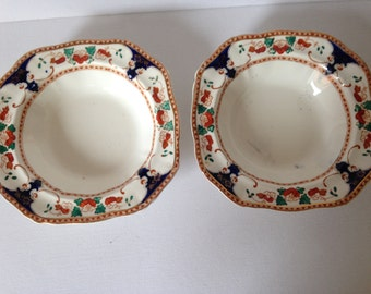 Antique Dishes Antique China Dishes Square Dishes Antique Dessert Bowls Alfred Meakin & Vintage plate Alfred Meakin china england Harlequin bone china