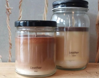 Leather - Soy Candle - Hand Poured Scented Natural Soy Wax - available sizes, 6 oz and 11 oz - Handmade in Baltimore MD