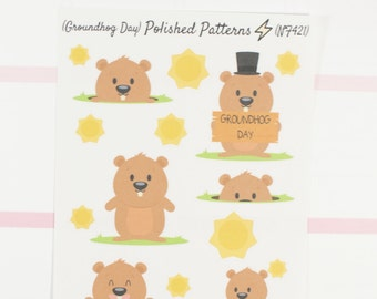 Groundhog Day Planner Stickers (NF421) High Gloss, Semi-Gloss, Matte Planner Stickers