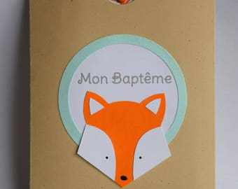 Announcements baptism, birth, communion, Fox, orange theme, kraft and Mint Green