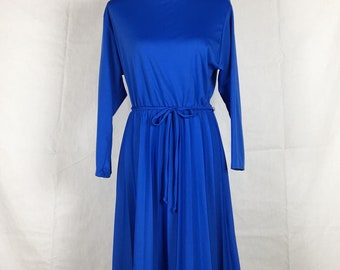 Royal blue vintage dress with pleated skirt and tie waist