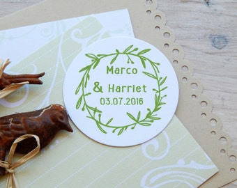 Custom Olive Foliage Wreath Olive Wood Stamp