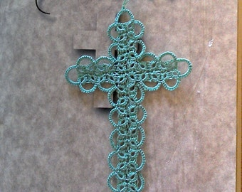 Green Bible Bookmark Tatted Cross Handmade Tatting