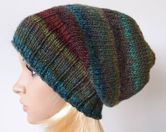 Multicolor Knitted Slouchy Hat, Beanie Hat