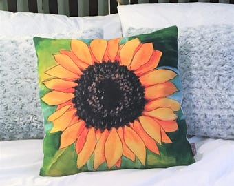 "Sunflower PIllow Cover 18"" x 18"" / Original Acrylic Painting Print, Flower pillow,  Decorative Pillow, Throw Pillow, Accent Pillow"