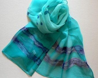 Hand Colored Silk Scarf Sky  Ocean