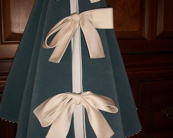 "52"" Dusty Blue Velvet with Silver Beading Stunning Christmas Tree Skirt  2018 Collection"
