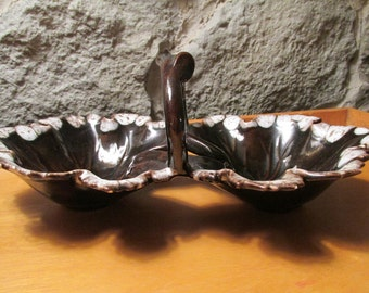 Double Leaf Ceramic Drip Glaze Dish with Branch Handle 1970s