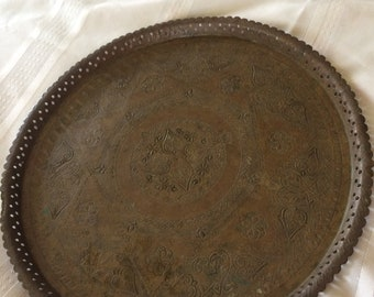 Vintage Brass Tray 15In