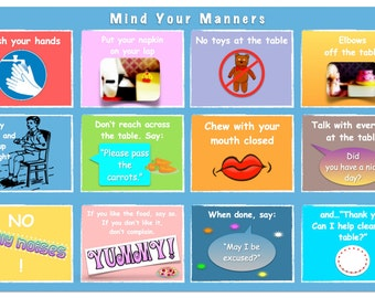Table Manners for Kids Placemat: Double-Sided & Laminated