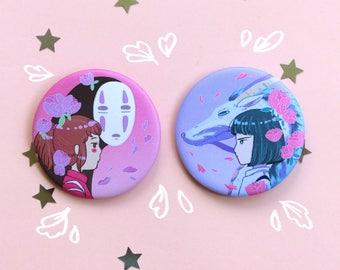 Chihiro and Haku Badges 56mm, No Face, Dragon, Studio Ghibli, Spirited Away, Badge, Miyazaki, Pastel, Cute, Anime, Kawaii, Button Badge