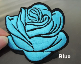 Iron on Patch - Rose Patch Blue or Gray or Red Rose Flower Patch Large Flowers Patch Iron on Patches or Sewing on Patch Embellishment