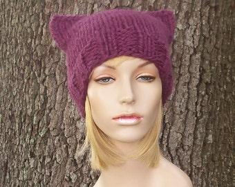 Knit Hat Womens Hat - Purple Cat Beanie Hat in Fig Purple Knit Hat - Purple Hat Purple Beanie Pussyhat Pussy Hat