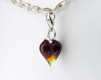 Glass Love Charm Pendant, Hand Blown Glass, Glass Heart Clip, dangle, Boro Lampwork jewelry, Heart Charm Clasp, Valentine's Gift for Wife