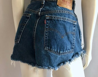 Vintage Women's 80's Levi's, Cut Off's, Shorts, High Waisted, Blue, Denim (L)