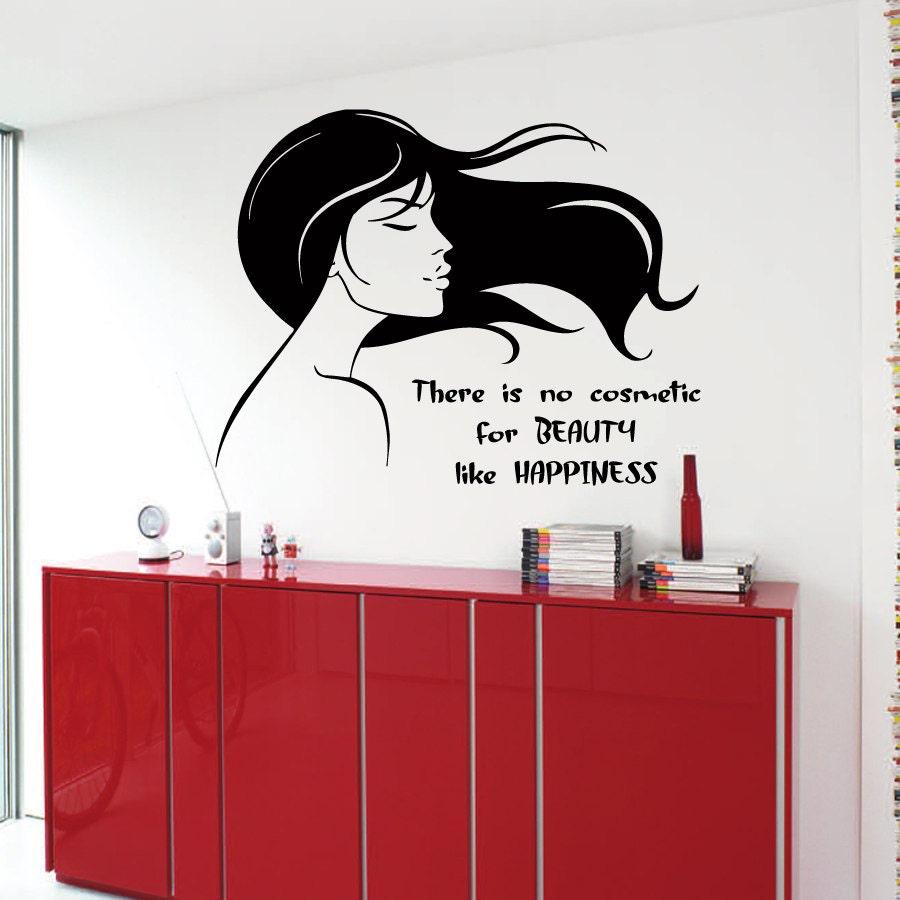 Salon Wall Decor Hair Salon Wall Decals Beauty Cosmetic Happiness Woman On Delightful Decoration Salon Wall Decor Amazon Com Decal Vinyl
