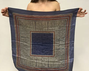 Vintage Earthy Abstract Red and Blue Silk Square Scarf / Tapestry / Textile