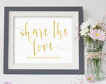 Social Media Sign | Wedding Hashtag | Gold Handwritten | Wedding Signage | Aurora Suite