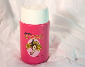 80s Barbie and the Rockers thermos - Vintage lunchbox accessory - Similar to Jem - Mattel