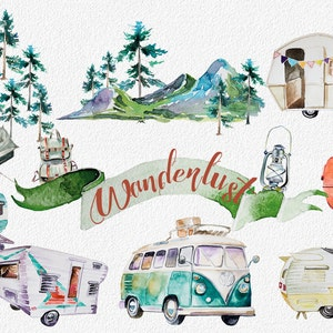 Watercolor Wanderlust Clipart Set,Retro Vehicles,Retro Camping,Traveling Clipart,Mountains,Backpack,Digital Scrapbooking,Vintage Trailer