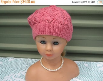 ON SALE Handmade Knitted Pale Pink Patterned Beret for Girl aged around 8-12 years in Bluebell  5 ply