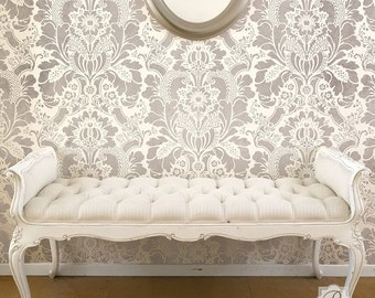 Lisabetta Damask Wallpaper Wall Stencil Pattern for Painting Large Floral Flower Design in Classic Vintage Interior