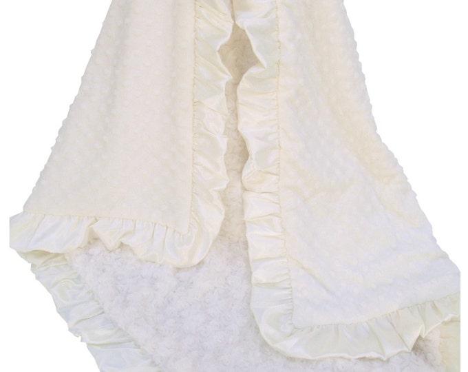 Creamy Ivory Rose Swirl Minky Baby Blanket,