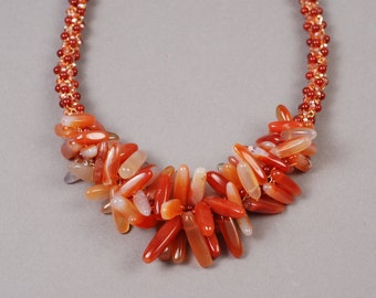 Carnelian Necklace - Kumihimo With Chain - Carnelian Kumihimo Necklace
