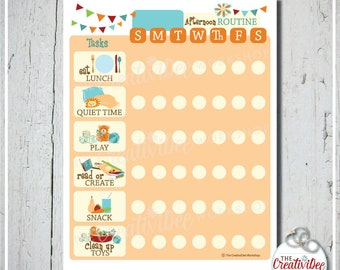 Afternoon Routine Chart | Daily Routine | EDITABLE NAME | Orange | Printable Routine Chart | Afternoon | Chore Chart | Children's Chart