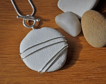 Large wire wrapped natural white pebble pendant necklace, Gift for her.