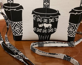 Beautiful African Inspired Black and White Crossbody Bag (or clutch)