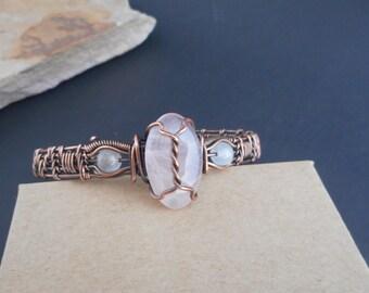 Copper Wire Wrapped Rose Quartz Bracelet, Rose Quartz Cuff, Gifts For Her
