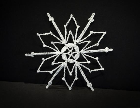 Vintage Handmade White Crocheted Christmas Ornament #8