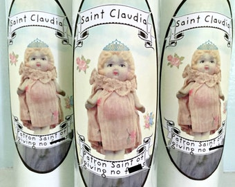 Patron Saint of Giving No F#cks Candle Claudia Doll Gag Gift Sanctuary Candles 7 Day Mature Listing