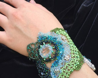 Beaded Cuff Bracelet - Choker with Ribbon Extension:  Blue/Green Dream I
