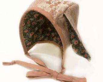 Linen & Lace Bunny Bonnet, Easter Bonnet, Baby Bonnet