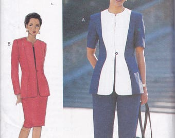 Free Us Ship Sewing Pattern Vogue Woman 9433 Retro 1990 90's Suit Jacket Skirt Pantsuit Pants 8 10 12 Bust 31.5 32.5 34 Uncut Factory Folded