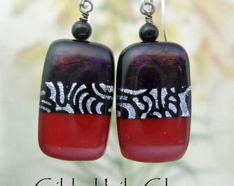 Red Velvet Dichroic Glass Earrings- Fused Glass Jewelry Handmade in North Carolina