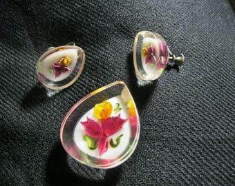 Vintage Brooch Screw Earrings Lucite Orchids