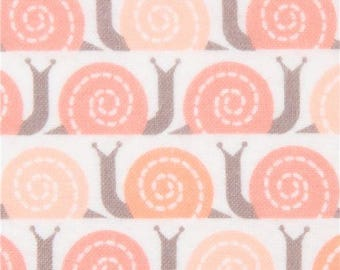 219252 white Cloud 9 snail animal organic Flannel fabric Field Day