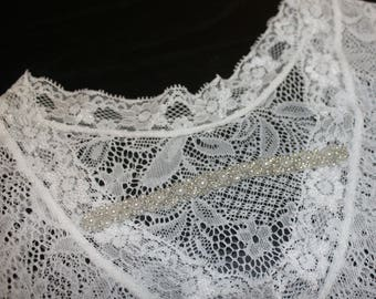 Lace, Pearl and Rhinestone NB-3M Romper Photo Prop Holiday Baby Newborn