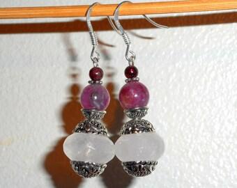 """Peonies in China"" earrings - rose quartz, tourmaline, Garnet, 925 Silver - Al ""flower""."