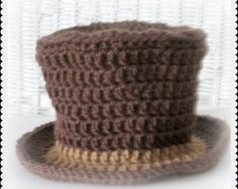Baby Top Hat in Crochet, Mad Hatter Photo Prop, Willy Wonka Hat, Victorian Top Hat in Brown, Halloween top hat