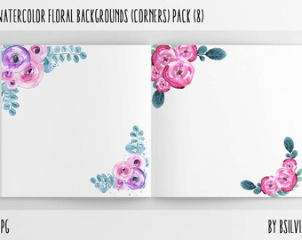 Watercolor Floral Backgrounds with Text Space - Watercolor Floral Corners, Watercolor Flowers Paper Pack, Floral Scrapbook Digital Papers